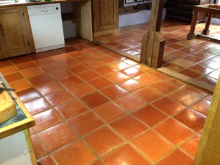 Terracotta Tiled Floor After Cleaning in Halstead