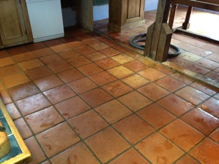 Terracotta Tiled Floor Before Cleaning in Halstead