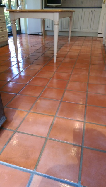 Terracotta Tiled Kitchen Cleaned and Sealed in Willingale