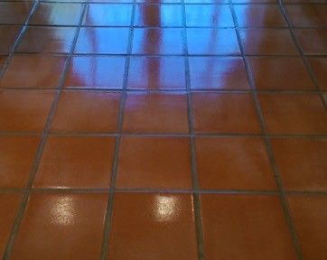 Terracotta Tiled Kitchen Floor Repaired, Cleaned and Sealed in Willingale