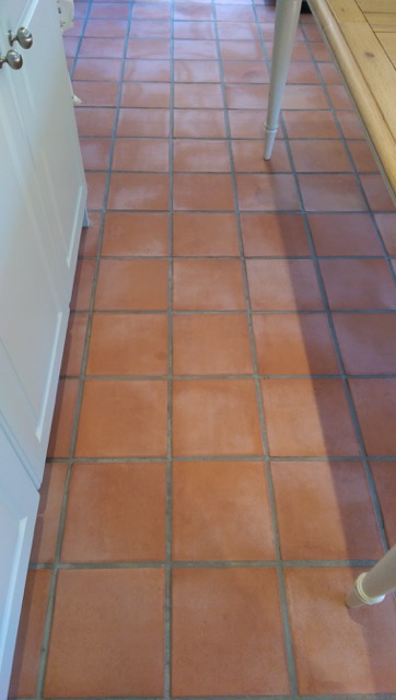 Terracotta Tiled Kitchen Repaired and Stripped in Willingale