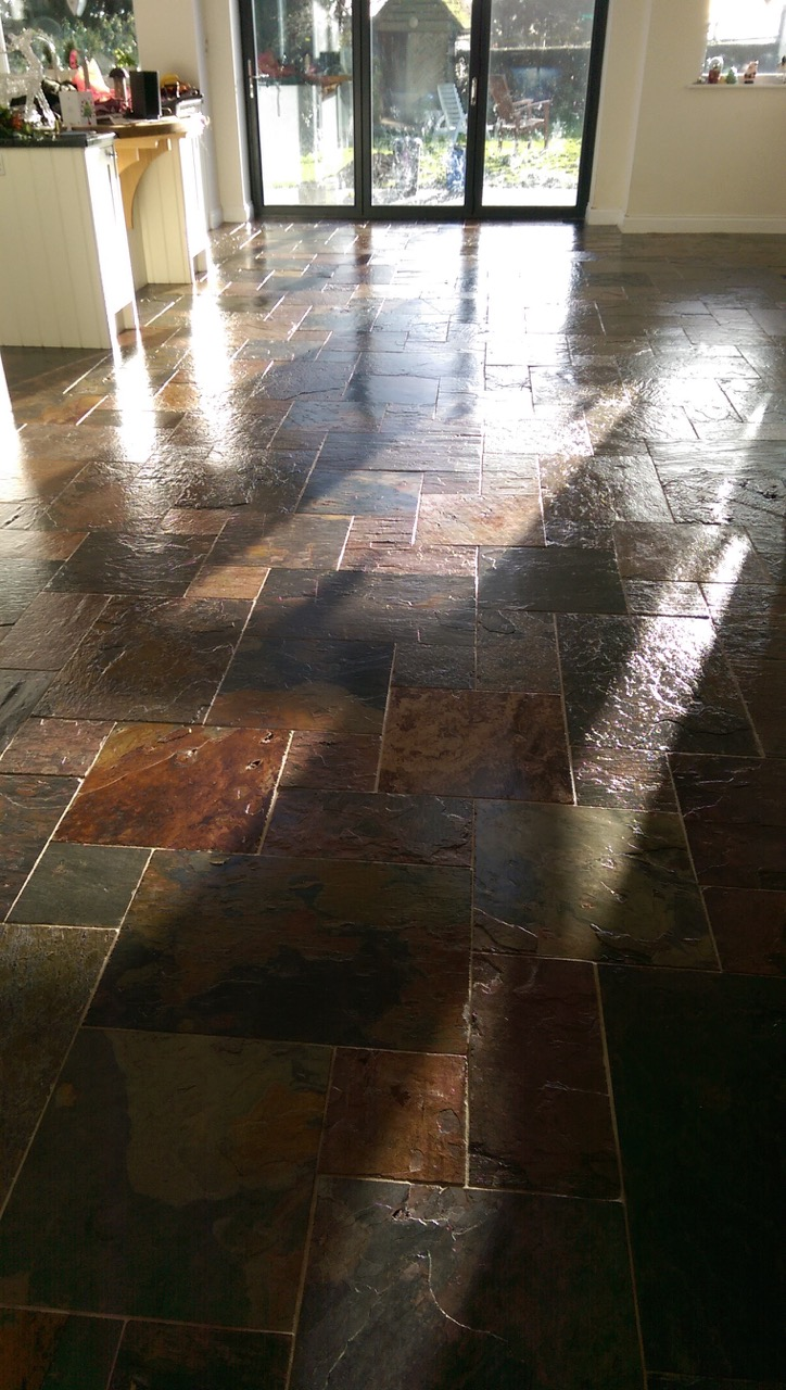 Slate Tiled Floor Thaxted After Cleaning
