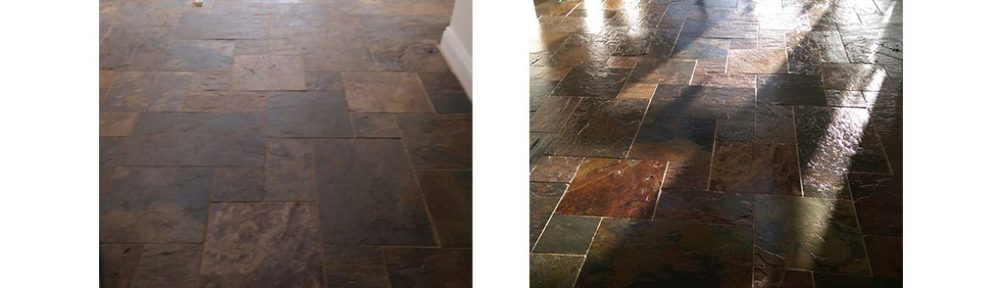 Lustre Restored to Dirty Slate Tiles in Thaxted