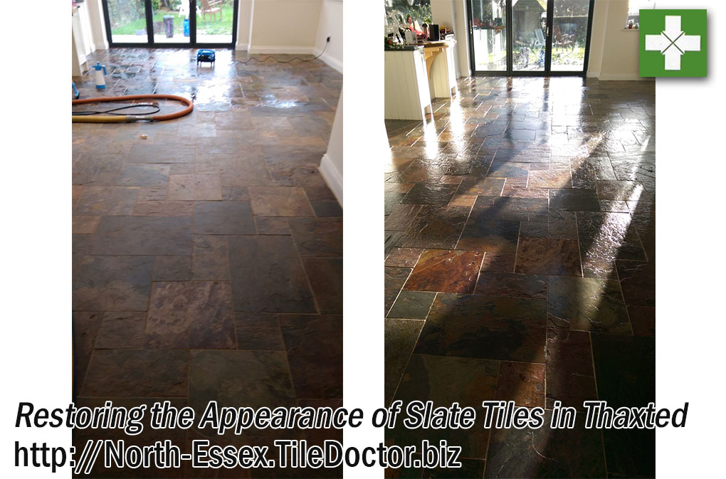 Slate Tiles Before and After Restoration in Thaxted