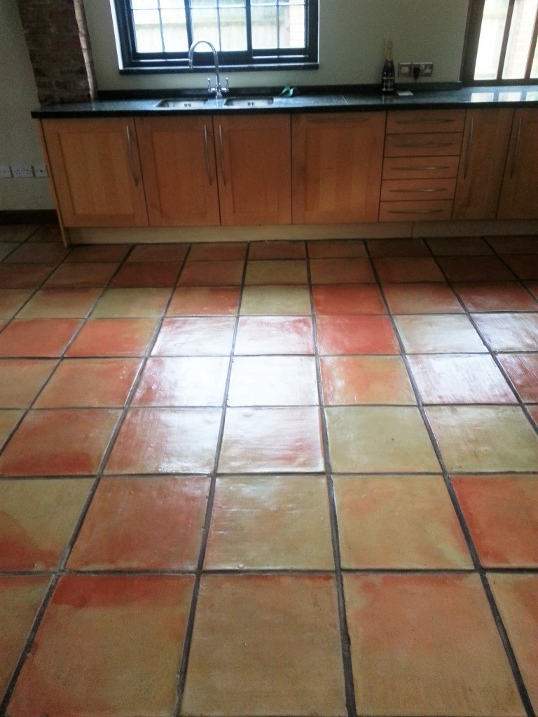 Terracotta Tiled Floor After Clean and Seal in Bishop Stortford