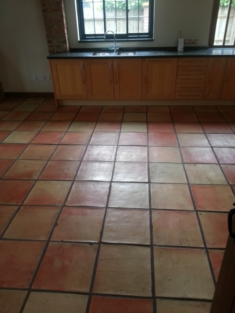 Terracotta Tiled Floor Before Clean and Seal in Bishop Stortford