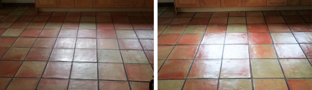 Terracotta Tiled Kitchen Floor Clean and Seal in Bishop Stortford