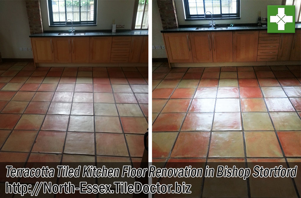 Terracotta Tiled Kitchen Floor Before and After Renovation Bishop Stortford Essex