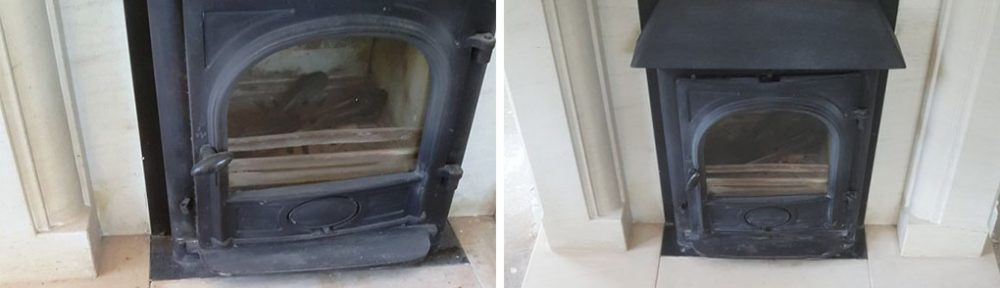 Cleaning a Flood Stained Limestone Fireplace in Chelmsford