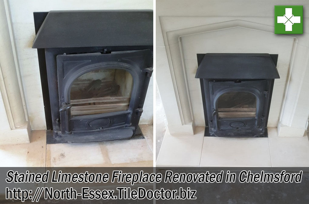 Limestone Fireplace Before After Restoration Chelmsford