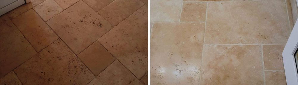 Neglected Tumbled Travertine Floor Renovated in Saffron Walden