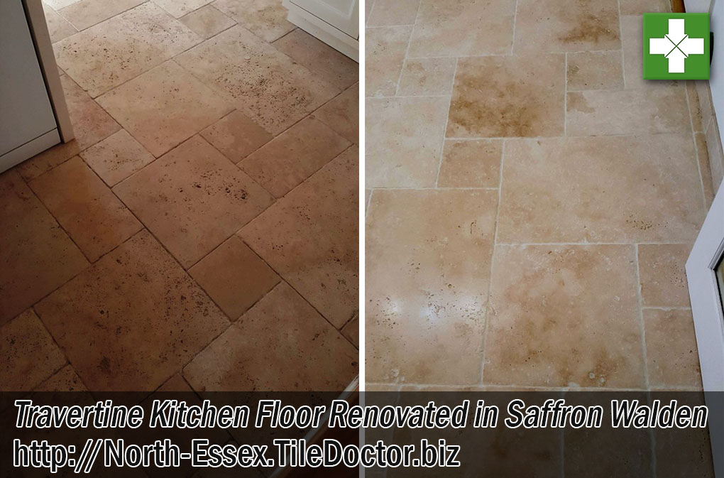 Travertine Tiled Kitchen Floor Before and After Cleaning Saffron Walden