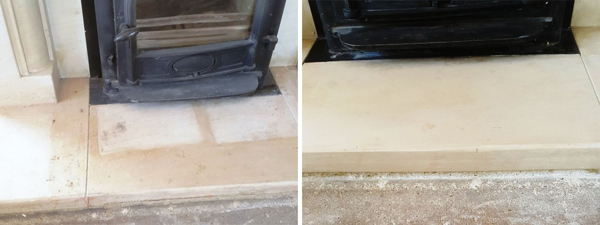 Limestone-Fireplace-Before-After-Flood-Stain-Removal-Chelmsford
